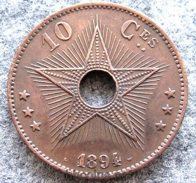 1887 Copper Coin Two Centimes Congo Free State Or Belgian Congo Central Hole Unc Clear And Distinctive Coins & Paper Money