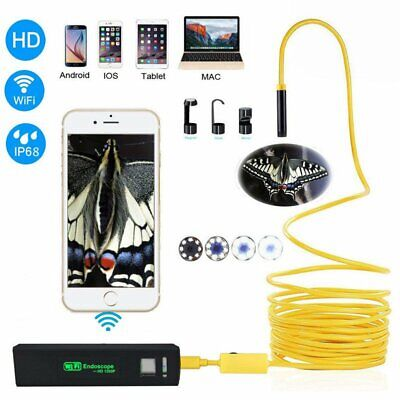 8mm HD Wireless Endoscope WiFi Borescope Inspection Camera fr Phone Android IOS