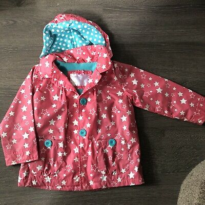Mothercare 2-3 Fleece Lined Star Raincoat Pink Turquoise