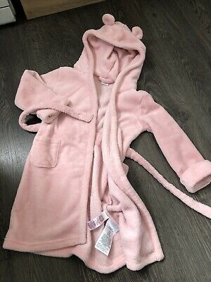 Baby gap 3 Toddler Girl Pink Bear Dressing Gown Soft Comfy