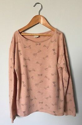 Girls ZARA Peach Cotton Long Sleeved Top 9-10 Years Grey Bow Print VGC