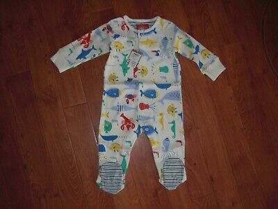 Bnwt Joules Boys Baby Ziggy Multi Sea Time Babygrow Romper Age 3-6 Months.