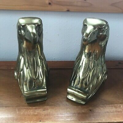 Vintage Pair of Heavy Solid Brass American Eagle Head Book Ends – 7.25 inches hi