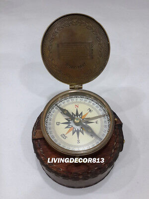 Maritime Nautical Boy Scouts Of America Compass With Antique Leather Case