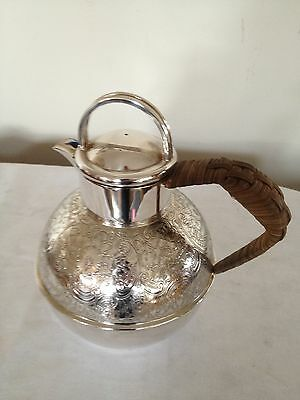 "Lovely Silver Plated Jersey Milk Jug With A Wicker Handle 7.25"" Tall"