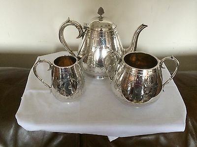 Stunning Highly Decorative Victorian 3 Piece Silver Plated Tea Set  (W S & S)