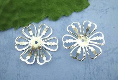 20 Bright Silver Filigree Beads Caps Flower Silver Plated 28mm