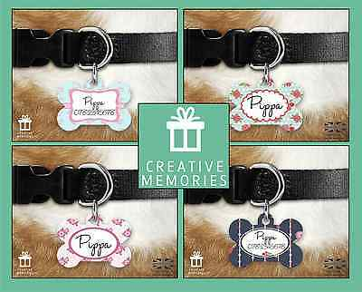 Dog Tag - Pet Dog Name ID Tag Personalised Collar Pet Tags - Shabby Chic