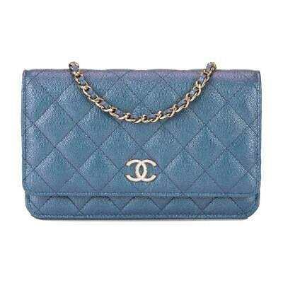 cd049a3edeb9 NWT CHANEL 18C Iridescent Light Blue Woc Mini Clutch Bag Wallet On ...