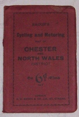 Vintage Bacons  Cycling  & Motoring Map Of Chester & North Wales   District