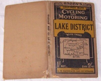 Vintage Bacons  Cycling  & Motorists Road Map Of Lake District  As Pictures