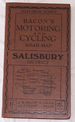 Vintage Bacons Motoring & Cycling Road Map Of Salisbury As Pictures