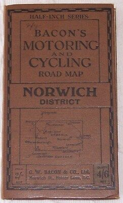 Vintage Bacons Motoring & Cycling Road Map Of Norwich As Pictures