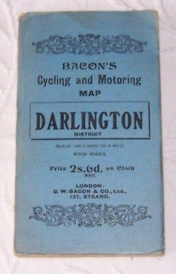 Vintage Bacons  Cycling  & Motoring Map Of Darlington  District  As Pictures