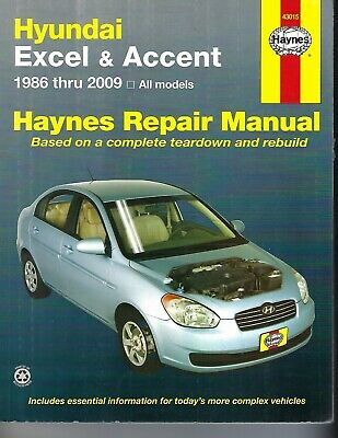 haynes 43015 hyundai excel 1986 - 2009 service repair manual wiring diagrams