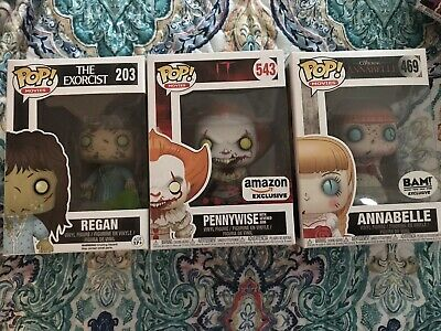 Funko Pop Movies Pennywise IT Regan Exorcist Annabelle BAM Amazon Exclusive Lot