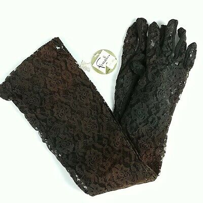 Vintage Faded Goth Opera Gloves Elbow Length Pair Original Tags Sun Damaged COS