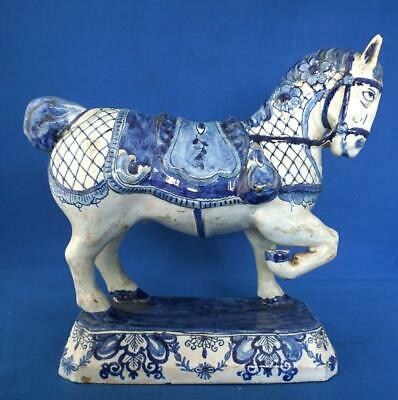 Dutch Delft Blue and White Pottery Antique Tin Glaze Horse Figure The Greek