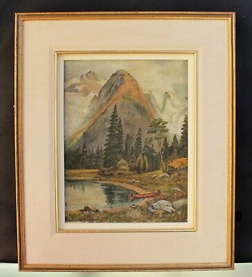 """Antique Mountain Landscape Oil Painting - Signed """"V. Peirce"""" - Circa 1925"""