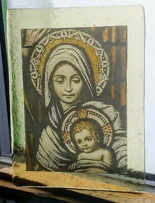 Stained Glass - Mother & child pane rare Kiln fired amber glass (Re-listed)
