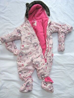 Muddy Puddles Girls Snowsuit All In One Waterproof 0 - 6 mth Bunny Rabbits  CUTE