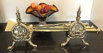 Stunning Victorian 67Cm Brass Fire Fireside Companion Set Grenadier Guards Dogs