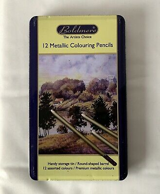Very Lightly Used Full Box BOLDMERE 12 Metallic Colouring Pencils