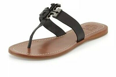 4ca6c3650e5a Tory Burch Moore 2 Thong Leather Miller Logo Sandals Flats Black Size 8  Amazing!