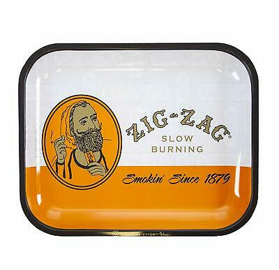 Zig-Zag Metal Rolling Tray - 13 x 11 Large - Orange Zig Zag Roll