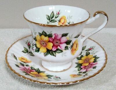 Paragon Vintage Tea Cup and Saucer With Pink and Yellow Flowers
