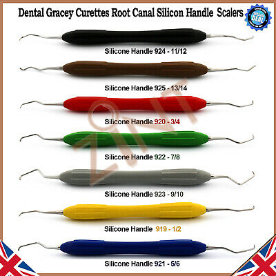 Dental Gracey Root Curettes Periodontists Instrument Silicone Grip Coated Handle