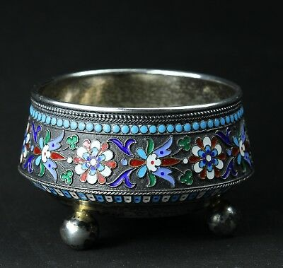 Salznapf Russland Silber mit Emaille Cloisonne SILVER ENAMEL Russia 19. Jh