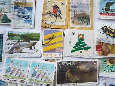 Lot (4) 100+ bulk used stamps to $2 Australian rare kiloware min duplication