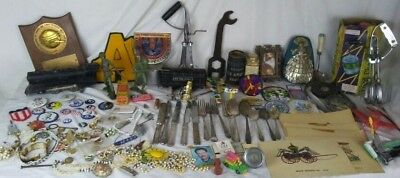 Vintage Assorted Collectible Junk Drawer Lot jewelry, toys, watches,pins patches