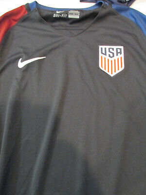 63b54741d6f NIKE DRI-FIT USA soccer 2016 Men's Jersey Large L Black Blue Red Excellent  used
