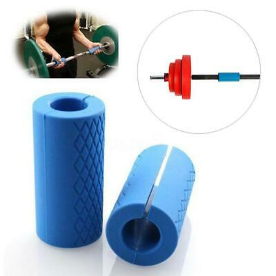 2 Pcs Thick Fat Barbell Silicone Grips Home Gym Arm Wrap Bar Dumbbell Grip Blue