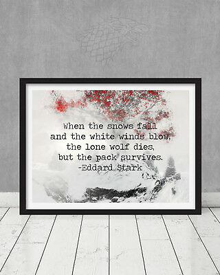 Game of Thrones Stark Winterfell Quote Weirwood Tree Art Gift Jon Snow North HBO