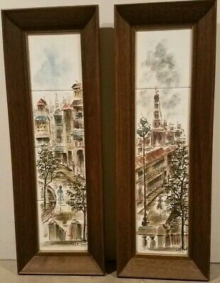 Mikulik Hand Painted Ceramic Tiles Signed and Framed Set of Two Panels. Rare
