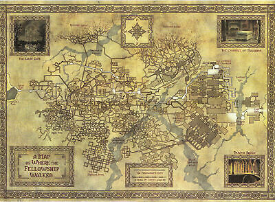 ZT1382 Hot Map of Middle Earth from Classic  Movie Vintage Silk Poster Art Decor