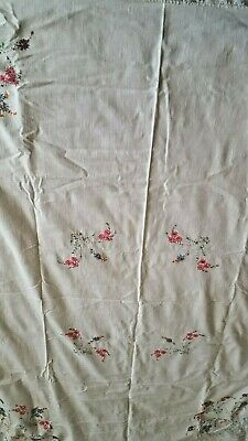 """Spring Summer floral embroidered cotton linen tablecloth 42"""" x 54"""" tatting vtg"""