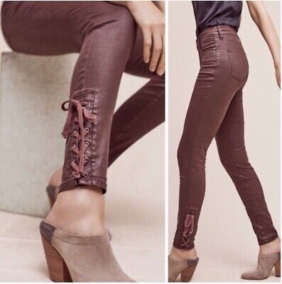 05bee13d283ea4 NWT Pilcro & The Letterpress Script High Rise Faux Leather Skinny Jeans  Size 26