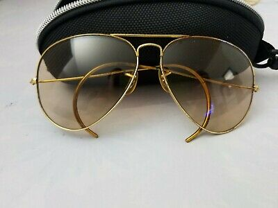 46063cacfe6c36 1980s Vintage B L RAY BAN USA Aviator Yellow Shooter Bullet Hole Sunglasses