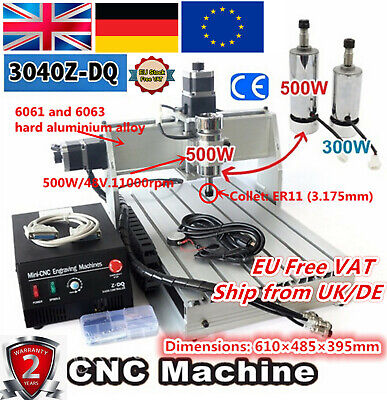 【DE+UK】 3040Z-DQ 3 Axis 500W Engraving Milling Machine Pcb Wood CNC Router 220V