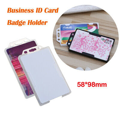 New DOUBLE SIDED VERTICAL COLOUR Open Faced Plastic Rigid Badge ID Card Holder
