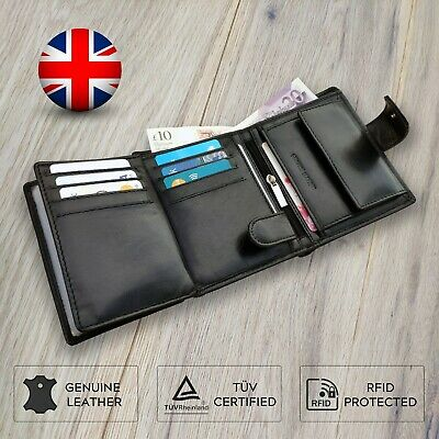 Rfid Card Wallet Blocking Holder Leather Credit Purse Metal Mens Protector