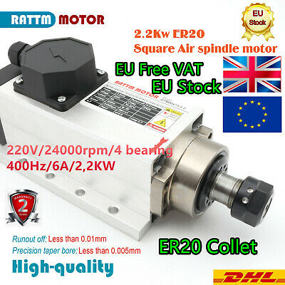 2.2KW ER20 Air Cooled Square Spindle Motor Four Bearing 24000rpm For CNC Router