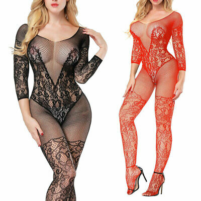 Fishnet Mesh Body Stocking Ladies Lingerie Open Crotchless Bodysuit Sleepwear