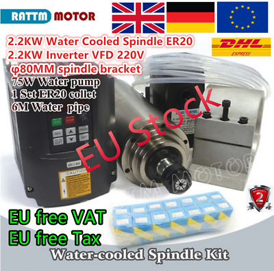 EU: 2200W Water Cooled Spindle Motor ER20&2.2KW Inverter&Clamp&Pump&Pipe&Collets
