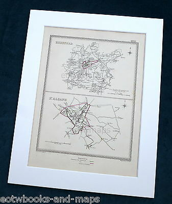 HERTFORDSHIRE, 1835 - HERTFORD, ST ALBANS,  Original Antique Town Boundary Map