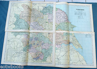 YORKSHIRE  -  Original Large Antique County Map ( 4 Sheets)  -  BACON - 1897.
